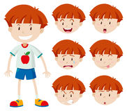 Cute boy with different facial expressions Stock Image