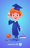 Cute boy with diploma ball and book . Back to school illustration Royalty Free Stock Images