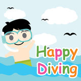 Cute boy is diving on the sea vector cartoon, Summer postcard, wallpaper, and greeting card Stock Photos