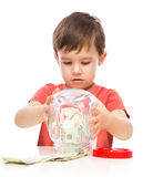 Cute boy with dollars Royalty Free Stock Photos