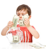 Cute boy with dollars Stock Image