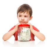 Cute boy with dollars Stock Photo