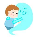 Cute boy don't fear devil death symbol. Illustration royalty free illustration