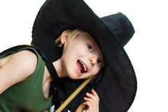 Cute boy dress up as witch Stock Image