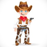 Cute boy dressed as a cowboy with revolver Stock Photography