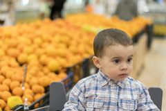 A cute boy dressed in a plaid shirt in a supermarket in a trolley. Against the background of appelles.  Royalty Free Stock Images