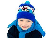 Cute boy dressed in winter clothes Stock Photo