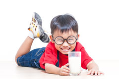 Cute boy drink milk Stock Photos