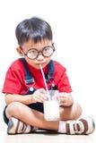 Cute boy drink milk Stock Image