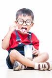 Cute boy drink milk Royalty Free Stock Photos