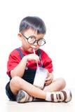 Cute boy drink milk Stock Photo