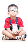 Cute boy drink milk Stock Images