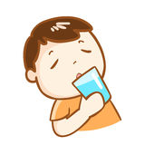 Cute boy drinking fresh water character  Stock Photography