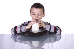 Cute Boy Drinking Milk Royalty Free Stock Image