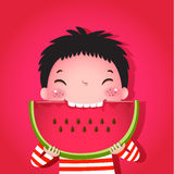 Cute boy eating watermelon Royalty Free Stock Photo