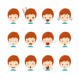 Cute boy emoticons set. Emoji facial feeling mood personality symbol Royalty Free Stock Photos