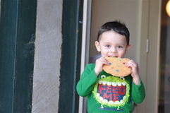 Cute Boy Enjoying a Cookie Royalty Free Stock Photo