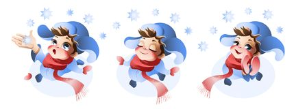 Cute boy enjoying the first snow. Llustration isolated on white background Stock Image