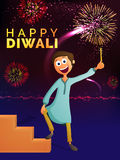 Cute boy enjoying Happy Diwali. Cute happy boy enjoying firecrackers on colourful fireworks background for Indian Festival of Light, Happy Diwali celebration Royalty Free Stock Image