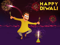 Cute boy enjoying Happy Diwali. Indian Festival of Lights, Happy Diwali celebration with cute boy enjoying firecrackers on colourful shiny fireworks background Royalty Free Stock Photo