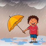 Cute boy enjoying rain. Stock Photography