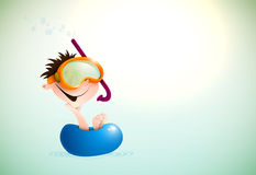 Cute Boy Enjoying Summer At The Beach.   Layered EPS10 Vector Background Stock Image