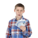 Cute boy with euro notes Royalty Free Stock Photo