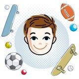 Cute boy face, human head. Vector redhead character, smiling tod Stock Photo