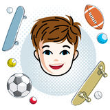 Cute boy face, human head. Vector redhead character, smiling tod Royalty Free Stock Image