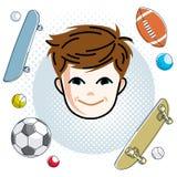 Cute boy face, human head. Vector redhead character, smiling   Royalty Free Stock Photos