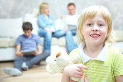 Cute boy and family Stock Photography