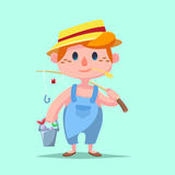 Cute Boy fishing Vector illustration Stock Photo
