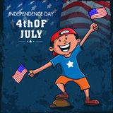 Cute boy with flag for American Independence Day celebration. Stock Image