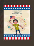 Cute boy with flag for American Independence Day celebration. Stock Photo