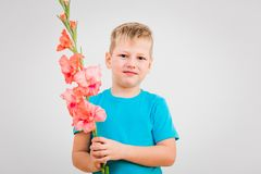 Cute boy with flower in hand on white background. Cute six year old boy with flower in hand on white background stock photos