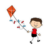 Cute boy flying kite avatar character Royalty Free Stock Photo