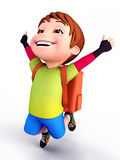 Cute boy flying with school bag Stock Photography