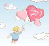 Cute boy flying whit heart-shaped balloons. Hand drawn style cute boy flying whit heart-shaped balloons -  illustration Stock Photography