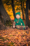 Cute boy in forest Stock Photos
