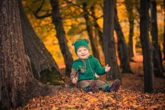 Cute boy in forest Royalty Free Stock Photos