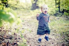 Cute boy in forest shouting playing. Happy running Stock Photos