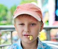 Cute boy with french fries Stock Photos