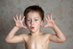 Boy is full of emotions Royalty Free Stock Photo