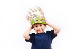 Cute boy with funny hat. On head Royalty Free Stock Photo