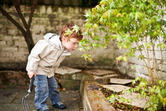Cute boy gadening in his back yard Royalty Free Stock Photo