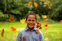 Cute boy in garden Royalty Free Stock Photo