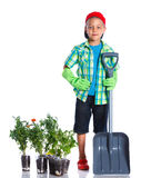 Cute boy gardener Stock Photo