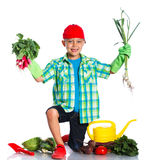 Cute boy gardener. Cute preschool boy gardener. Isolated on the white background stock photography