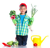Cute boy gardener. Cute preschool boy gardener. Isolated on the white background royalty free stock photography