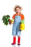Cute boy gardener. Cute preschool boy gardener. Isolated on the white background Royalty Free Stock Photo